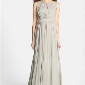 Jenny Yoo Vivienne Pleated Chiffon Gown Grey 0-2